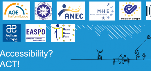 Logo of the demonstration for a strong accessibility act with logos of all participating organisations